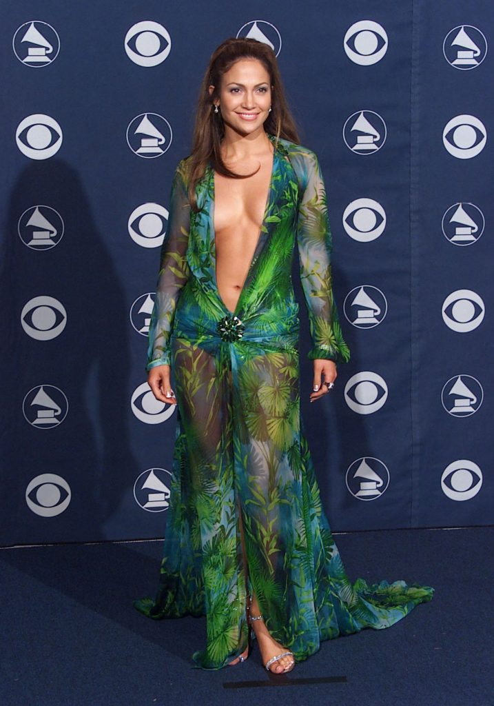 Jennifer Lopez Green Versace Dress Grammy 2000
